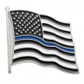 Thin Blue Line Flag Pin - Silver