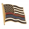 Thin Red & Blue Line American Flag Pin