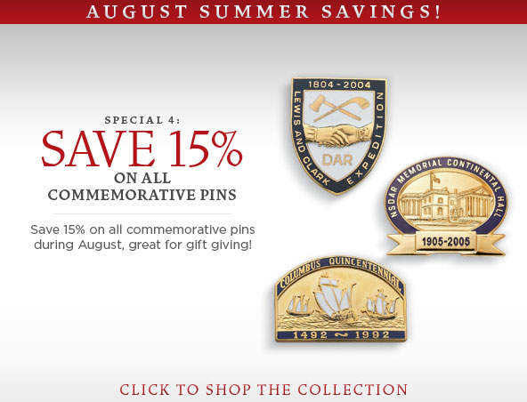 15% off Commerorative pins